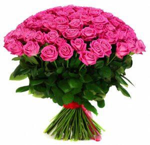 101 розовая роза 65 см